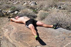 Tanning While Modeling (Blue Rave) Tags: relaxing 2015 bloke dude guy male mate people sexy nature trail shorts meninshorts guysinshorts shoes desert bulge bulging young shirtless runningshoes gay adidas adidasshorts asics asicsshoes barechest