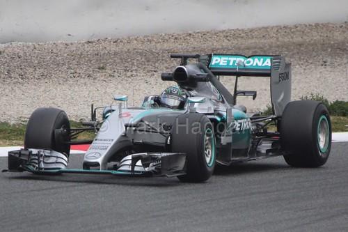 Nico Rosberg in the Mercedes in Formula One Winter Testing 2015