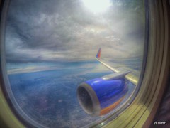 Surreal Descent (cooper.gary) Tags: travel blue southwest window clouds airplane coast fly flying gulf view florida seat wing engine surreal overcast airline boeing winglet approach overhead pensacola 737 escambia gtcooper gtkuper