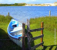 sossego... (silwittmann) Tags: blue brazil sky sc grass azul brasil fence river boat dunes capim cerca santacatarina canoa dunas guardadoembau palhoa dockbay riodamadre