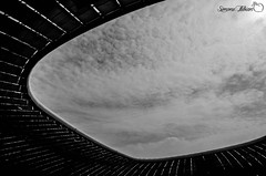 Allianz Arena Roof (meepeachii) Tags: roof bw architecture germany munich münchen soccer struktur structure arena architektur lowkey fcb allianz fusball schwarzweis