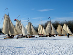 Traditional ice sailboats near Monnickendam (leo.iske) Tags: winter 2012 noordholland waterland monnickendam icesailing hemmeland ijszeilen