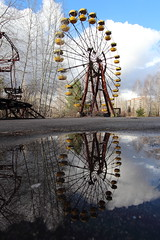 Chernobyl Ferris Wheel (scrappy nw) Tags: reflection abandoned canon decay nuclear fair ukraine forgotten urbanexploration ferriswheel funfair derelict urbanexploring ue chernobyl urbex scrappy pripyat chernobyldisaster canon600d scrappynw pripyatdisaster