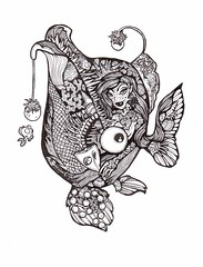 Sea Witch Mermaid - Fishie Fish (artyshroo) Tags: fish seaside sealife doodle mermaid penink shroo zentangle wwwartyshrooblogspotcouk artyshroo