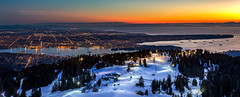 Vancouver City Panorama at Dusk from the top of Grouse Mountain (PIERRE LECLERC PHOTO) Tags: canada vancouver landscape bc britishcolumbia grousemountain lowermainland canon6d pierreleclercphotography