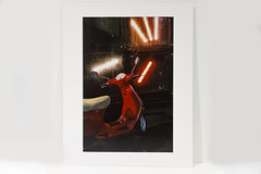 Fine Art Print - Wet Red Bike (Ewan Arnolda Photography) Tags: red wet night outdoors photography bright fineart motorbike transportation buy prints sell