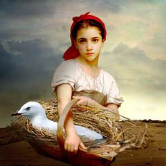 Saves life of animals (jaci XIII) Tags: pet bird girl animal painting seagull pssaro garota menina bouguereau pintura gaivota