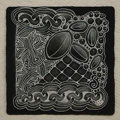 Ix on black (aaspforswestin) Tags: black tile pattern zenstone zentangle gellypen tanglepattern whitecharcoalpencil