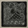 Ix on black (aaspforswestin) Tags: black tile pattern zenstone zentangle gellypen tanglepattern whitecharcoalpencil