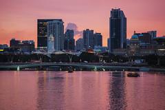 Painted Pink (elenaleong) Tags: singapore jubileebridge marinabay marinareservoir mbssunset elenaleong