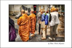 WAITING TO CROSS (Derek Hyamson) Tags: people liverpool crossing candid monks hdr albertdock
