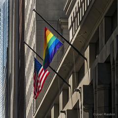 Wall Street Flags (Joel Raskin) Tags: nyc newyorkcity manhattan americanflag pride flags financialdistrict wallstreet rainbowflag usflag prideflag fidi lbgtq 60wallstreet
