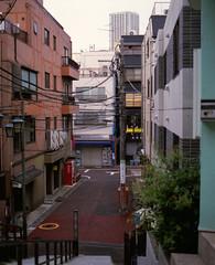 (  / Yorozuna) Tags: japan stairs tokyo alley backalley steps alleyway analogphotography  mamiyarb67      akebonobashi   shinjukuward  filmscanning mamiyarb67professionals    mamiyasekorc138f90mm  nenbutsuzaka