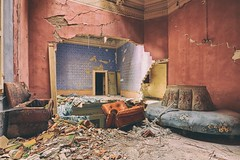 ...And The Walls Began to Shake (earthmagnified) Tags: roof urban building castle abandoned reading earthquake chair floor decay decorative room painted exploring explorer decoration palace ceiling crack castelo collapse villa walls ornate exploration palazzo moulding abandonment ue urbex