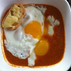 Tomato soup, eggs, toast, cheddar (htomren) Tags: food soup eggs brunch phonepics