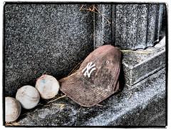 Hat for Joe (NoJuan) Tags: cemetery grave hat olympus baseballhat cap yankees gravesite newyorkyankees joedimaggio baseballcap cemeterystone holycrosscemetery colmaca micro43 microfourthirds olympusartfilter olympusep5 olympus1250mmf3563