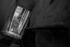 Gedney Railway Station Closed Since 1959 (BenChapmanphoto) Tags: door light blackandwhite bw monochrome wall stairs mono march fuji hand open decay steps rail lincolnshire fujifilm handrail derelict urbex gedney 2015 fujifilmxpro1 18mmf2