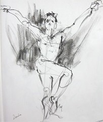 from Quickposes - charcoal on newsprint (Nora MacPhail) Tags: life male art model artist class nora charcoal short figure gesture poses contour sessions newsprint macphail