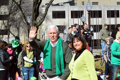 Gov. Mike Pence doing the shadow hand act. (kennethkonica) Tags: people irish usa men green america scarf fun outdoors nikon women midwest shadows politics smiles couples indy indiana parade governor leadership republicans laws whitehair stpatricksdayparade ndianapolis mikepence d7100 indianapolitics governormikepence religiousfreedomact