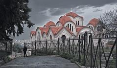 Exodus (tSos Greq) Tags: red man church walking rojo cross camino dom iglesia athens greece grecia atenas figure orthodox tejado hombre exodus greekcapital