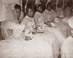 Delores McCoy with bridesmaids on her wedding day - Tallahassee (State Library and Archives of Florida) Tags: marriage bridesmaids brides weddings tallahassee deloresmccoy frenchtowntallahassee