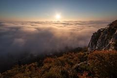 The gulf of Trieste in a foggy evening, Italy (Mau&Sa) Tags: italy sun fog clouds italia gulf foggy sole nebbia karst trieste golfo adriaticsea duino eos5dmarkii samyang14mm