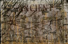 Ancient Collage (Morganthorn) Tags: art collage ink paper stencil paint play mixedmedia journal practice draw tear infer