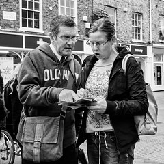 York 002 (Peter.Bartlett) Tags: york city uk england people urban blackandwhite woman man monochrome bag square couple unitedkingdom candid yorkshire streetphotography gb m43 lunaphoto urbanarte niksilverefex microfourthirds peterbartlett olympuspenep3