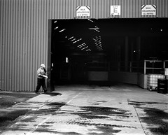 A Factory Manager - Middlesbrough (Richard James Palmer) Tags: street new uk portrait england urban blackandwhite white abstract black art 120 mamiya film monochrome newcastle photography trapped shoot gloomy iso400 fineart north streetphotography documentary overcast rangefinder gritty ishootfilm tyne east iso ilfordhp5 400 walkabout epson hp5 medium format analogue melancholy northern northeast ilford f4 isolated upon newcastleupontyne 1125 80mm tyneandwear 2016 v700 mamiya7ii microphen filmisnotdead 7ii ilfordmicrophen epsonperfectionv700