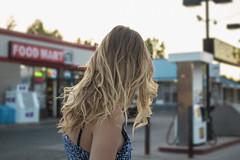 (Shannon Cyr) Tags: summer portrait woman colour cute beautiful beauty fashion female portraits canon dress gasstation portraiture blonde curlyhair hairflip canon60d