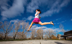 Happy Love to Leap Thursday! (Flickr_Rick) Tags: woman girl outside spring jump jumping legs bluesky skirt brunette jumpology