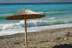 ~ Kalamia Beach (Argyro...) Tags: sea summer beach water umbrella corinth greece