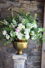 Ceremony arrangement (Robin Hollow) Tags: pink white green urn gold spring peony hydrangea pedestal