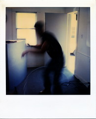 Hula Hoop Dreams (tobysx70) Tags: california ca toby motion blur film hoop polaroid sx70 photography la office los time angeles hula ghost blurred center hollywood dreams figure instant hancock studios ghostly zero tz timezero huahoop
