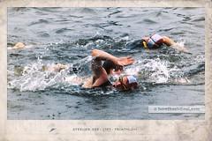 Triathlon 1989 #2 (Howdys) Tags: see oberschwaben aulendorf steeger blau wasser badenwrttemberg deutschland europa nikon f301 photoshop freibad triathlon schwimmer badekappen schwimmbrille 1989 80s sport bearbeitung vintage rahmen schwimmen kraulen