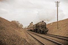 LMS 8F No. 48624 on a local at the GCR (Andrew Edkins) Tags: sepia vintage local steamtrain lms greatcentralrailway preservedrailway 8f stanier doubletrack steamgala 48624
