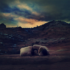 pebbles on a mountain (brookeshaden) Tags: sky mountain clouds dark nude idea utah saturation expressive zionnationalpark figurative fineartphotography humanform conceptualimage brookeshaden