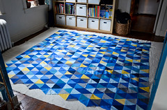 Step 3: Center Quilt Top Over Batting, Right Side Up (iriskh) Tags: triangles triangle quilt needlework sewing basting 18200mm isoscelestriangle nikond5100
