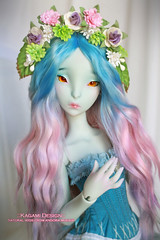 Pastel mix (Kimirra) Tags: doll ombre mohair bjd commission abjd hairband lillycat acessory colorfulhair tinywig colorwig angorawig kagamidesign