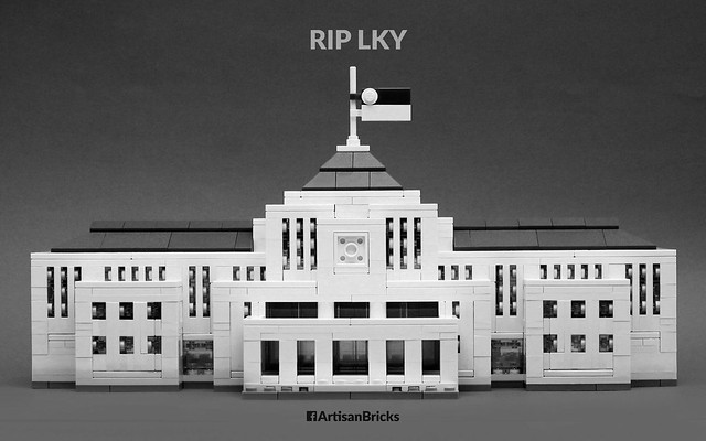 Artisan Bricks by Jeffrey Kong - LEGO Parliament House Singapore - Half Mast RIP LKY Lee Kuan Yew - B&W