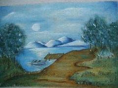 anoitecer (LID ARTS) Tags: de em prato panos pintura tecido