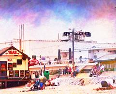 Busy Beach (virtually_supine) Tags: uk painterly beach photomanipulation seaside textures devon layers paignton digitalmanipulation blending holidaymakers pse9 photoshopelements9 awakechallenge4beachesandcoastlinesmarch1to312015 pse9effectsfindedges