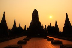 Ayutthaya sunset (lalulicha) Tags: travel sunset silhouette thailand temple asia culture thai