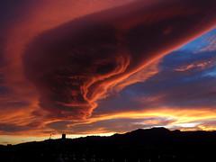 sunset over the Ports (Marlis1) Tags: sunset sonnenuntergang lenticular lenticularclouds elsports föhnfisch tortosacataluñaespaña canong15