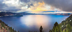 Shot with iPhone 6 (Tom Fenske Photography) Tags: blue sunset sky panorama orange lake color reflection nature wet water clouds oregon outdoors nationalpark craterlake wilderness iphone