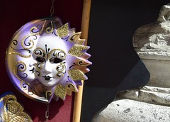 Venice: the sun and the moon (Peter Denton) Tags: city carnival venice sun moon art tourism europa europe mask religion eu baroque venise venezia venedig facemask lent eyemask columbina nikond5300 buata ©peterdenton