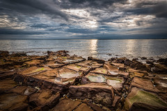 Brighton Beach, Melbourne, Australia (Chas56) Tags: brighton brightonbeach beach sea coast bay portphillipbay rocks water clouds sky sun sunset landscape seascape canon canon5dmkiii ocean rockformation shapes ngc
