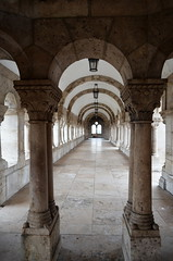 A Corridor Of The Fisherman's Bastion [Budapest - 7 December 2015] (Doc. Ing.) Tags: building stone architecture hungary arch stonework budapest pillar columns perspective arches hu colonnade 2015 fishermansbastion centralhungary budascastledistrict