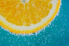 Orange 2.0 (lkaldeway) Tags: summer food orange macro green geometric fruit healthy drink beverage bubbles health slice citrus vitaminc effervescence
