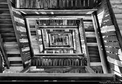Goetheturm Staircase, Frankfurt, Germany (JH_1982) Tags: goetheturm staircase stair stairs treppe treppenhaus wood wooden holz vertigo looking up aussichtsturm sachsenhausen black white grey greyscale bw blackwhite schwarz weiss grau frankfurt frankfurter francfort frncfort francoforte meno     hessen hesse germany deutschland allemagne alemania germania